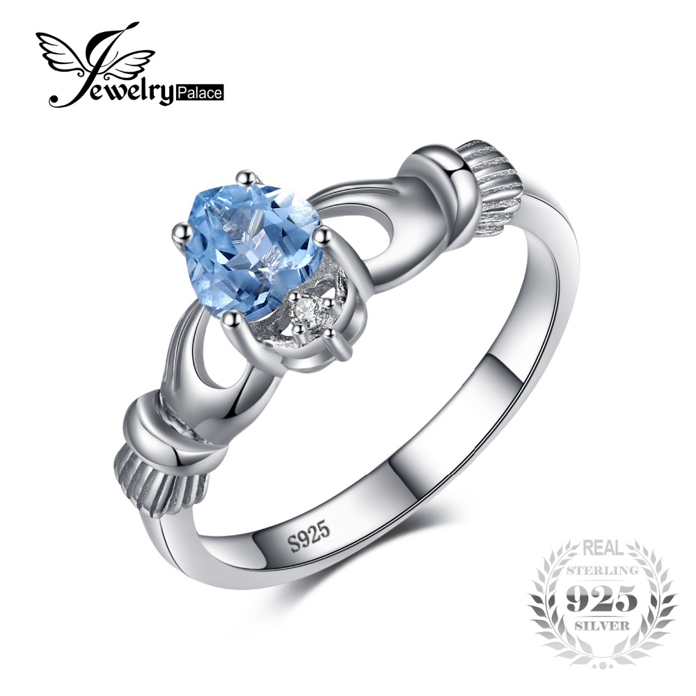 JewelryPalace Natural Aquamarine Irish Claddagh Ring Solid 925 Sterling Silver Love Heart Women Fine Gemstone Engagament