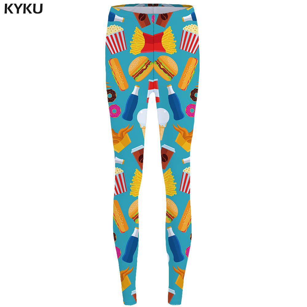 KYKU Brand Food Leggings Fries Sexy Leggings Hamburger Print Legging Coffee 3d High Waist Women Slim Jeggins