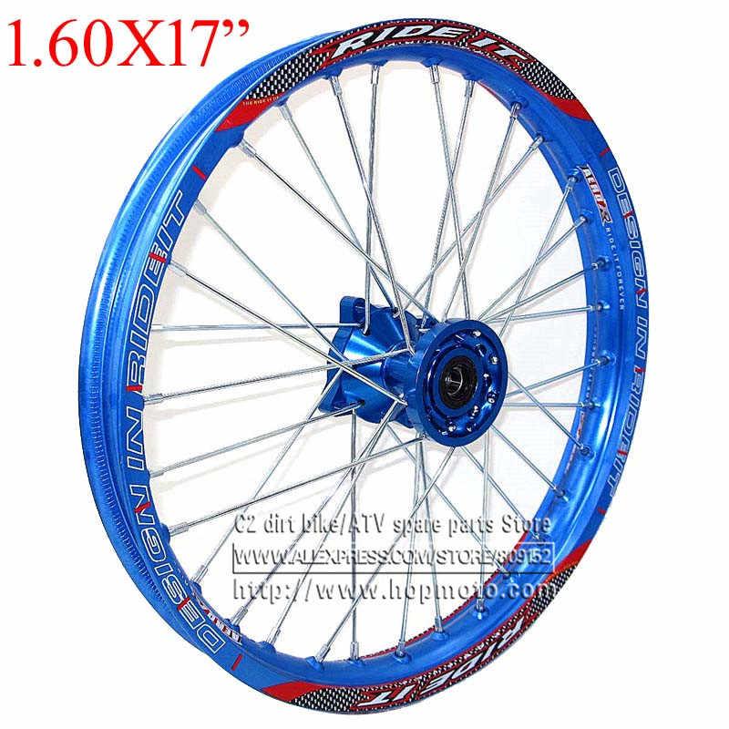 Blue 1 60x 17 Inch Front Rims Cnc Hub Aluminum Alloy Wheel