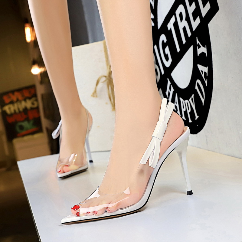Transparent Sexy Brand Luxury Designers High Heels Sandals Bow Women Fashion Pointed Open Toe Shoes Party Wedding 2019 Summer