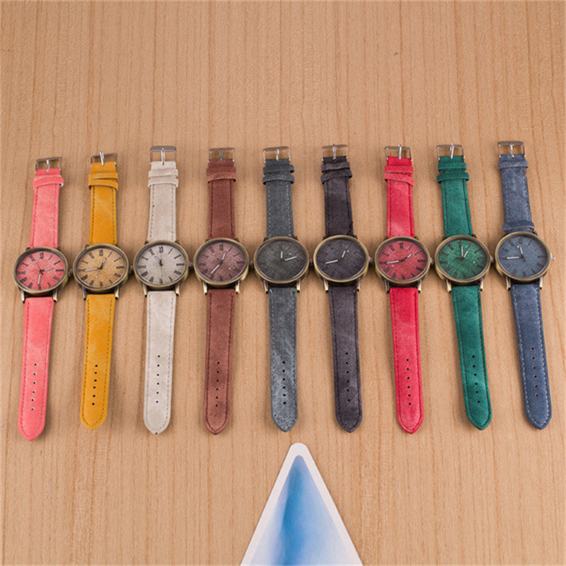 9color/lots Mens Watches Top Brand Luxury Fashion Jeans Leather MEIBO Quartz Wristwatch Ladies Watch Relojes Hombre 2018 Clock