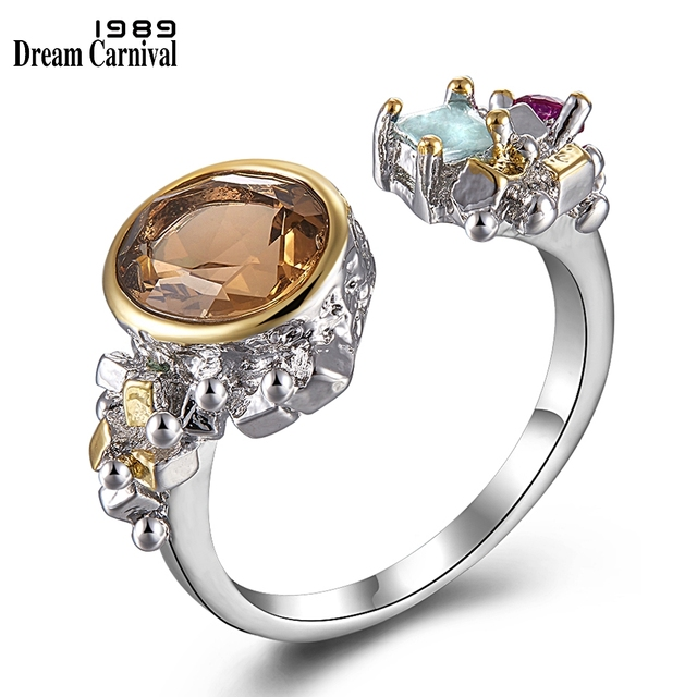 DreamCarnival 1989 Women Vintage Engagement Wedding Ring Light Brown Zircon Jewelry Open Ends Fashion Must Have Jewelry WA11643