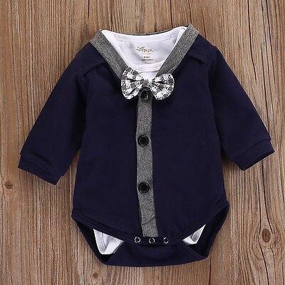 2 Stücke Neugeborenes Baby Gentleman Body Strickjacken Overall Sweatshirt Oitfits