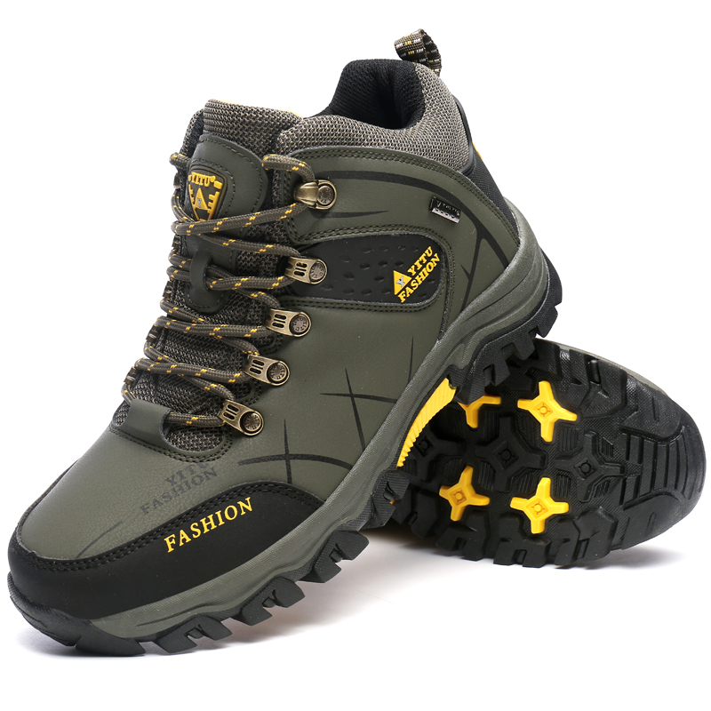 Winter Warm Hiking Shoes Waterproof  Leather Outdoor Men Mountain Climbing Boots Zapatillas Trekking Hombre Plus Velvet clorts hiking men shoes outdoor trekking shoes suede lace up leather shoes mountain climbing shoes zapatillas outdoor hombre