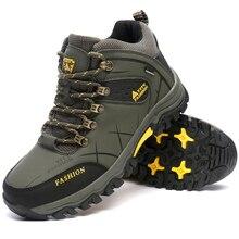 Зимние теплые Треккинговые ботинки Водонепроницаемый кожа Открытый Для мужчин альпинизм Ботинки Zapatillas треккинг Hombre плюс бархат