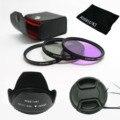 49mm 52mm 55mm 58mm 62mm 67mm 72mm 77mm UV+CPL+FLD Lens Filter+lens cap+len hood for canon nikon pentax sony camera