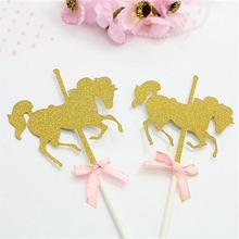 Horse Unicorn Cake Topper Picks Wedding Decoration Baby Shower Birthday For Kids Party Supplies 50pcs/lot
