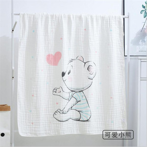 Image 2 - ベビー毛布 110 × 110 センチメートルモスリンコットン 6 層の厚さの新生児おくるみ秋ベビーおくるみ寝具象受信毛布