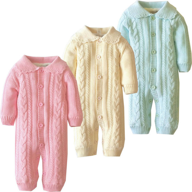 1 pc Autumn And Winter new Cotton baby Coverall Plus velvet Lace collar Solid baby Climbing clothes men and women aTLL0072