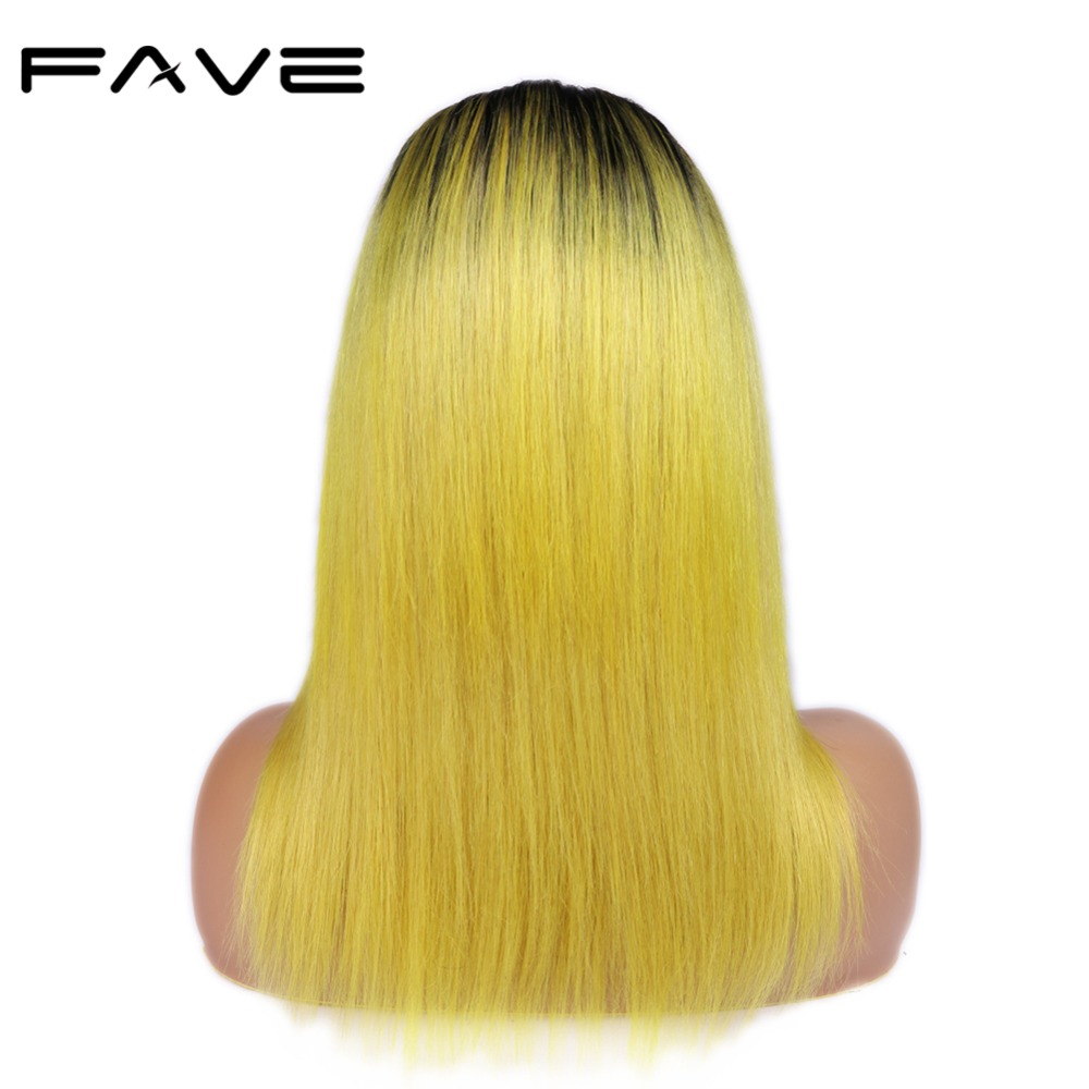 FAVE Hair 4*4 Lace Closure Ombre Wigs Color Brazilian Remy Straight Hair Wig 150% Density Natural Hairline 1B/Lemon Yellow-in Human Hair Lace Wigs from Hair Extensions & Wigs    3