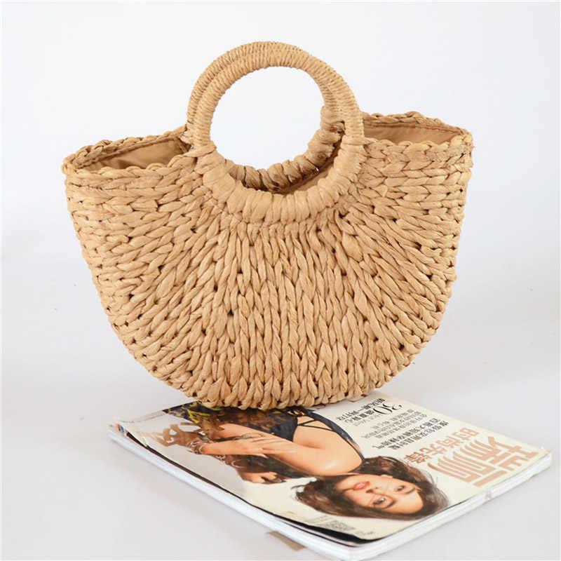 Rerekaxi nova mão lua-em forma de bolsa feminina verão tecido praia saco moda senhoras palha sacos de viagem sacola de compras