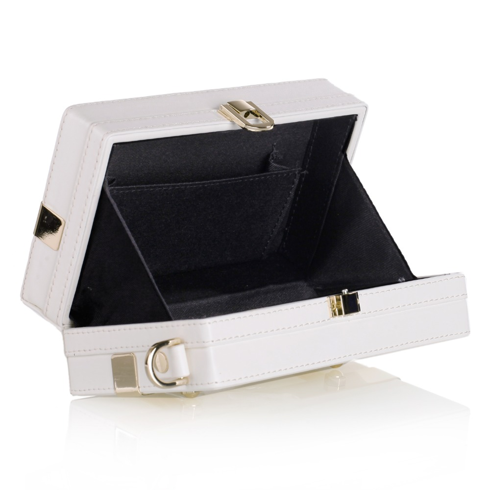 Cream White Womens Trinket Storage Bag Leather Strap Travel Box PU Jewelry Carrying Case Luxury Cell