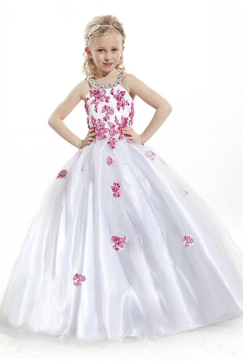 Pink Lace Applique Long Pageant Dresses For Kids Vestido De Daminha