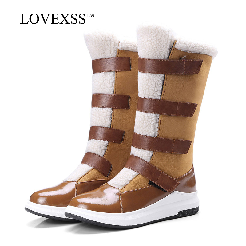 LOVEXSS Woman High Cylinder Snow Boots Winter Patent Leather Plus Size 33 - 42 Platform Shoes Faux Suede Black Brown Snow Boots