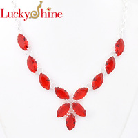 Luckyshine Dazzling Oval Fire Drop Red Quartz Silver Plated Wedding Chain Necklaces Russia USA Canada Pendants