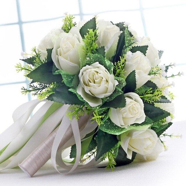 2016 Красивая Свадьба Букет Все Ручной Работы Свадебные Цветы Свадебные Букеты Искусственный Жемчуг Цветок Букет Роз