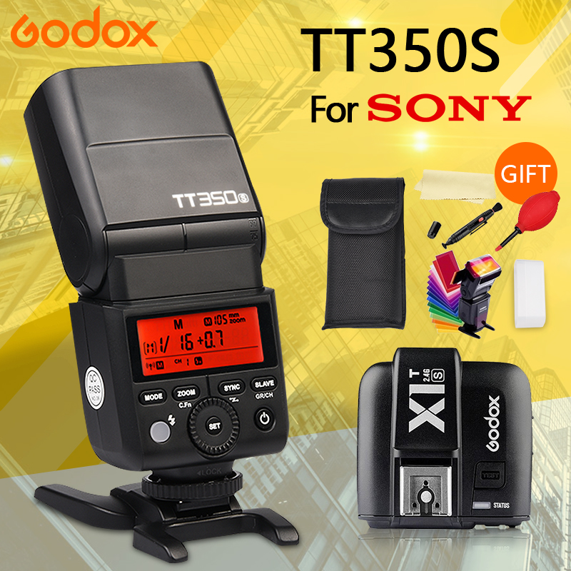 Godox TT350S 2.4G 1/8000s TTL GN36 Wireless Speedlite Flash light with X1T-S Flash Trigger Transmitter for Sony A7 A7R A7S A7 II godox v860iic v860iin v860iis x1t c x1t n x1t s hss 1 8000s gn60 ttl flash speedlite 2 4g transmission godox softbox filter