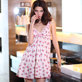 2016 spring and summer thin pink adjustable spaghetti strap nightgown 100% cotton cute sexy sleepwear lounge night dress