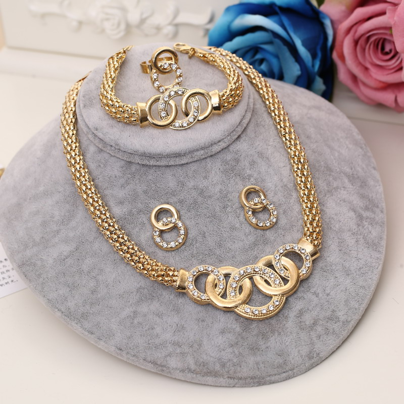 MINHIN Ladies Vintage Jewelry Sets African Beads Statement Necklace Earrings Bracelet Ring Sets Women Wedding Gold Accessories