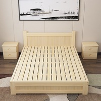 Home Bed Bedroom Furniture Home Furniture Nordic simple modern solid wood bed 1.5m/1.8m king size bed queen bed