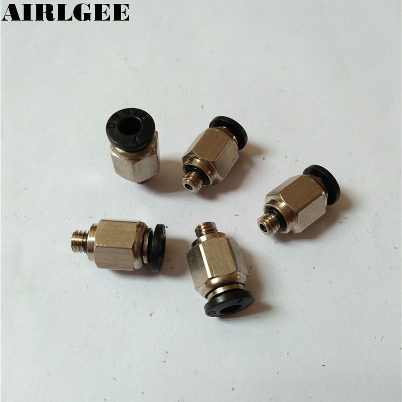 5 Pieces High quality <font><b>4mm</b></font> x M5 Male Thread Pneumatic Air Connector Gas <font><b>Tube</b></font> Quick <font><b>Fittings</b></font> Free shipping image