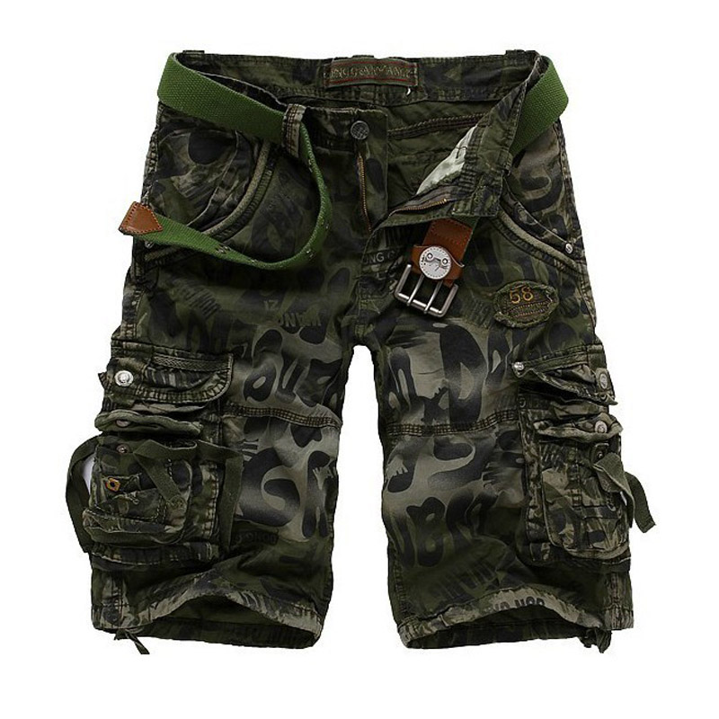 Outdoor Camo Multi pockets Green Gray Cotton Blue Men's Cargo Shorts Military Army Combat Hip pop Size 28-40