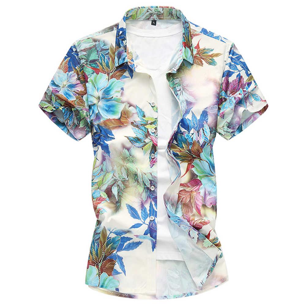 d412d0a30bc ... Summer Fashion Men s Shirt 2018 Flower Floral Print Short Sleeve  Clothes Trend Male Slim Fit Casual ...
