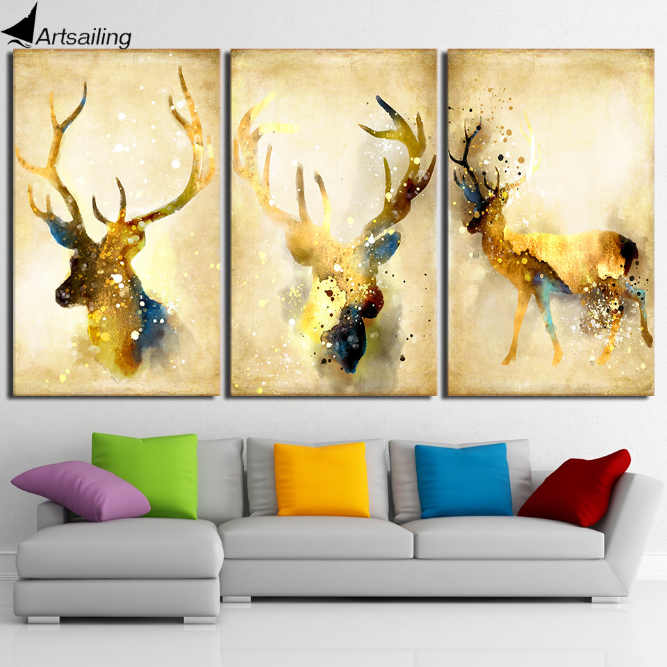 HD printed 3 piece deer elk animal yellow wall art canvas Painting ...