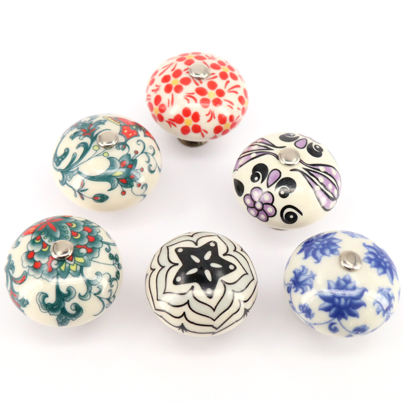 40mm*35mm Multicolor Cabinet Handles and Knobs Cabinet Knobs and Handles High Quality Furniture Ceramic Knobs One Piece