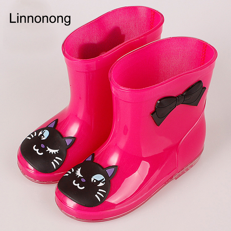 2017 Spring Rubber Boots Children Boots For Girls Boys Kids Cartoon Rainboots Candy Color Antiskid Rain Boot Waterproof Shoes