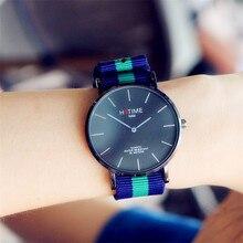 Hotime продвижение женщин в простом стиле все черный циферблат спортивные наручные часы для пара студентов нейлон группа кварцевые часы