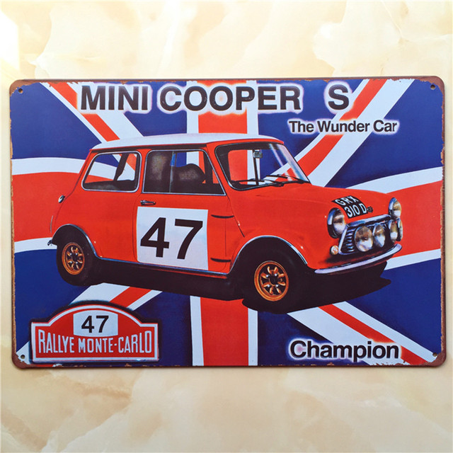 mini cooper car vintage metal signs home decor vintage tin signs pub vintage decorative plates metal - Metal Signs Home Decor