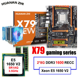 Descuento placa base de escritorio HUANAN ZHI Deluxe X79 placa base con CPU Intel Xeon E5 1650 V2 con enfriador RAM 16G 2 * (8G) REG ECC