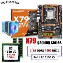 Скидка настольная материнская плата HUANAN Чжи Deluxe X79 материнская плата с ЦПУ Intel Xeon E5 1650 V2 с охладитель Оперативная память 16G (2*8G) регистровая и ecc-память