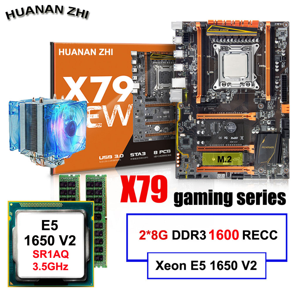 Remise bureau carte mère HUANAN ZHI Deluxe X79 carte mère avec CPU Intel Xeon E5 1650 V2 avec cooler RAM 16g (2*8g) REG ECC