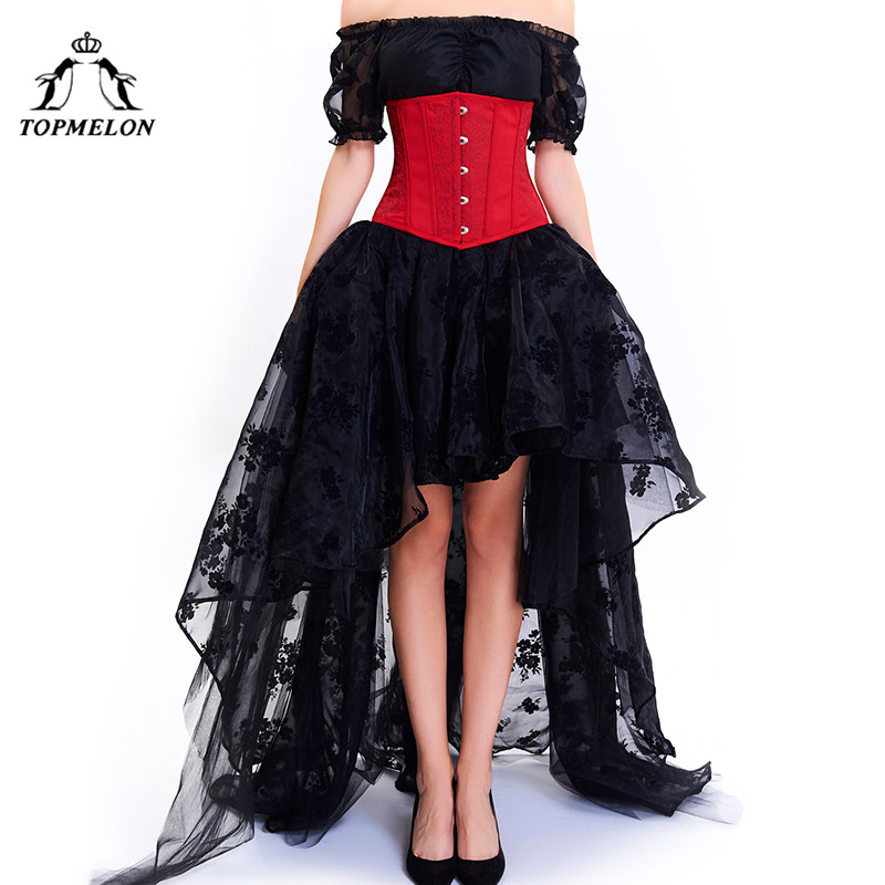TOPMELON Corset Dress Bustier Gothic Women Embroidery Lace Tulle Dress Floral Silky Party Wedding Ball Gown Dress+ Tops + Corset