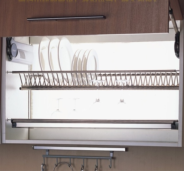 60cm Wall Kitchen Cabinet Cupboard 2 Tier 304 Stainless Steel Plate Bowl Cup Drying Rack