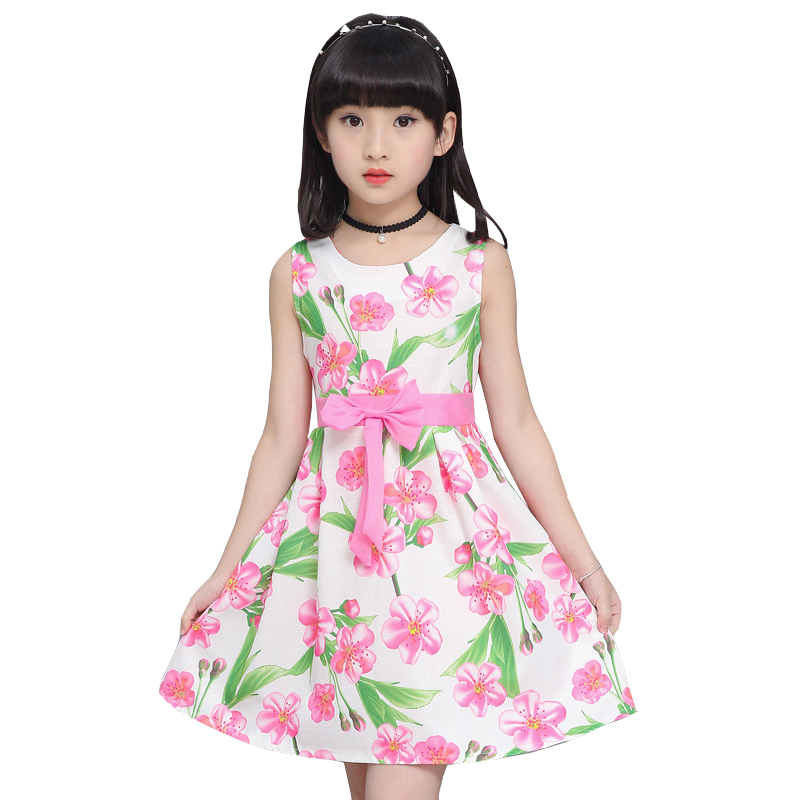 Summer Flower Girls Dress 2018 New Casual Sleeveless Kids Dresses for Girl Bow Children Princess Clothing for Party Wedding kids flower girl dress for party and wedding dresses girls sleeveless princess dress 2018 new summer 3 14 yrs children clothes