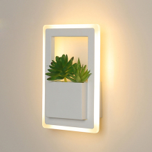 Modern fashion LED wall lamp square acrylic 11W send simulation plant LED wall lamp indoor bedroom study corridor balcony