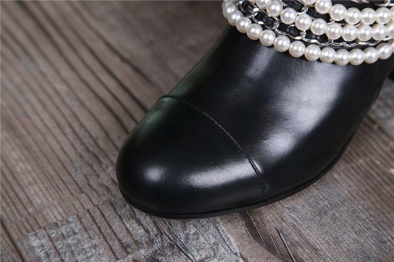 Cuero Negro Shown Martin Mujer Perla Y Británica Genuino Tobillo As Impermeable Cadena 2018 Motocicleta Moda De Botas Zapatos 41 HwzSdBq