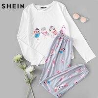 SHEIN Women Sleepwear White Owl Print Long Sleeve Tee And Grey Pants Pajama Set Woman Pajamas