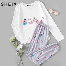 Шеин Для женщин пижамы белый с принтом «Сова» футболка с длинными рукавами и серый Брюки пижамный комплект женские пижамы осень пижамы