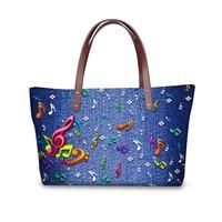 Stylish 3D Blue Denim Printed Women Messenger Handbags High Quality Top handle Bags for Ladies Bolsas Feminine Totes
