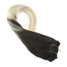 Moresoo волосы для наращивания на заколках 7 шт./100 г прямые волосы remy#2 платиновый блонд#60 человеческие волосы на заколках