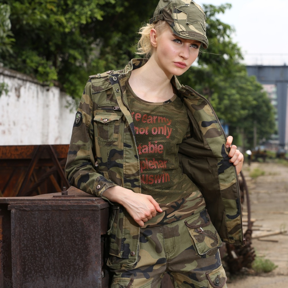 New Fashion Military Camouflage Womens Jacket Coat Autumn Stand - Women's Clothing - Photo 6