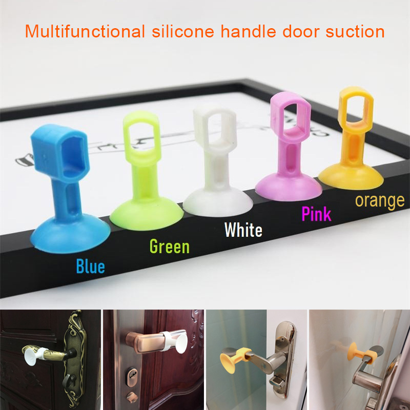2019 Perforation Free Silicone Door Stoppers Anti-Collision Handle Doorknob Bumper  MJJ88