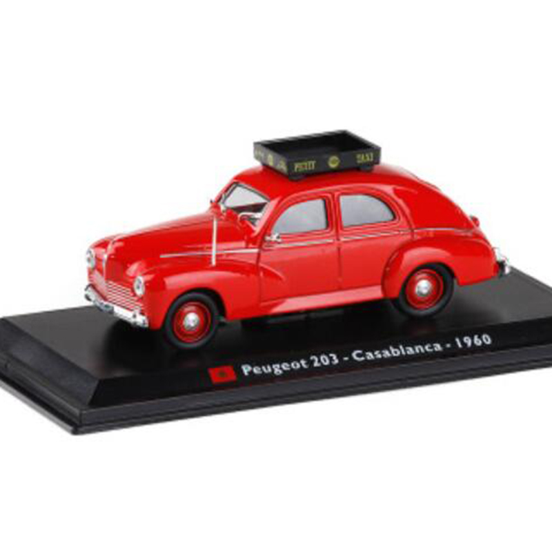 Red Color <font><b>1</b></font>:<font><b>43</b></font> Scale Metal Alloy Classic <font><b>Peugeot</b></font> 203 Casablanca 1960 Cab Taxi <font><b>Car</b></font> <font><b>Model</b></font> Diecast Vehicles Toys F Kids Child Gifts image