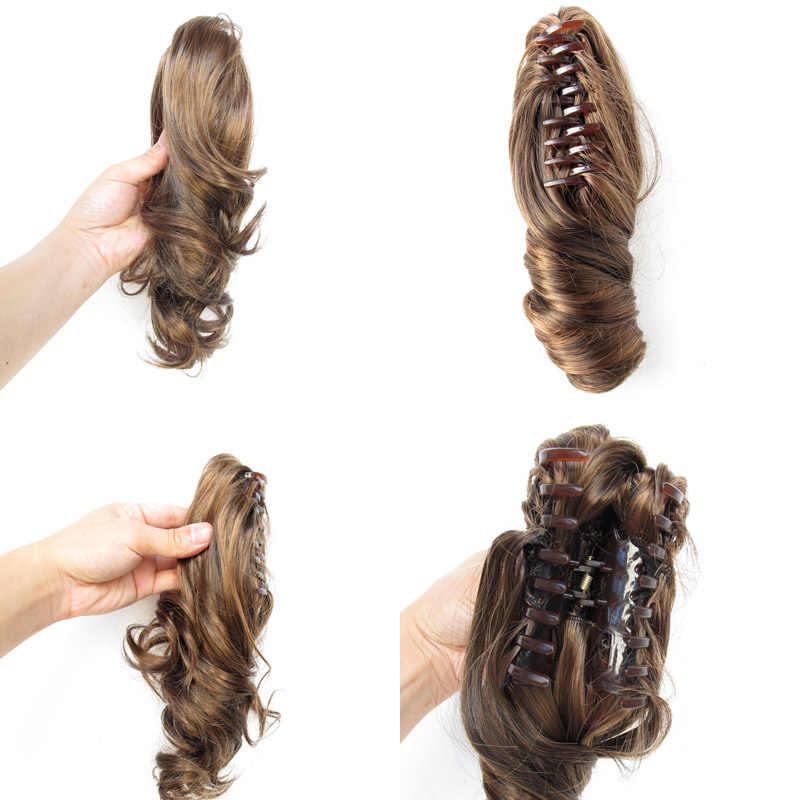 """Jeedou krótki falista peruka z kucykiem przedłużenia syntetyczne Ponytails Claw 16 """"40 cm 90g, brązowy, czarny kolor damskie treski"""