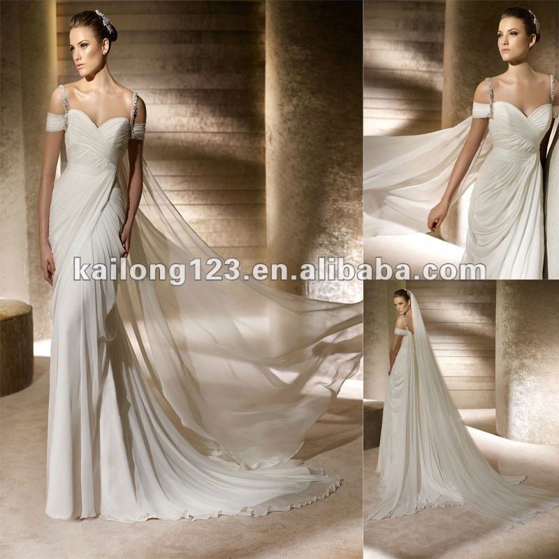 Unique sweetheart draped sheath sweep train ivory chiffon for Sheath wedding dress with beading and side drape