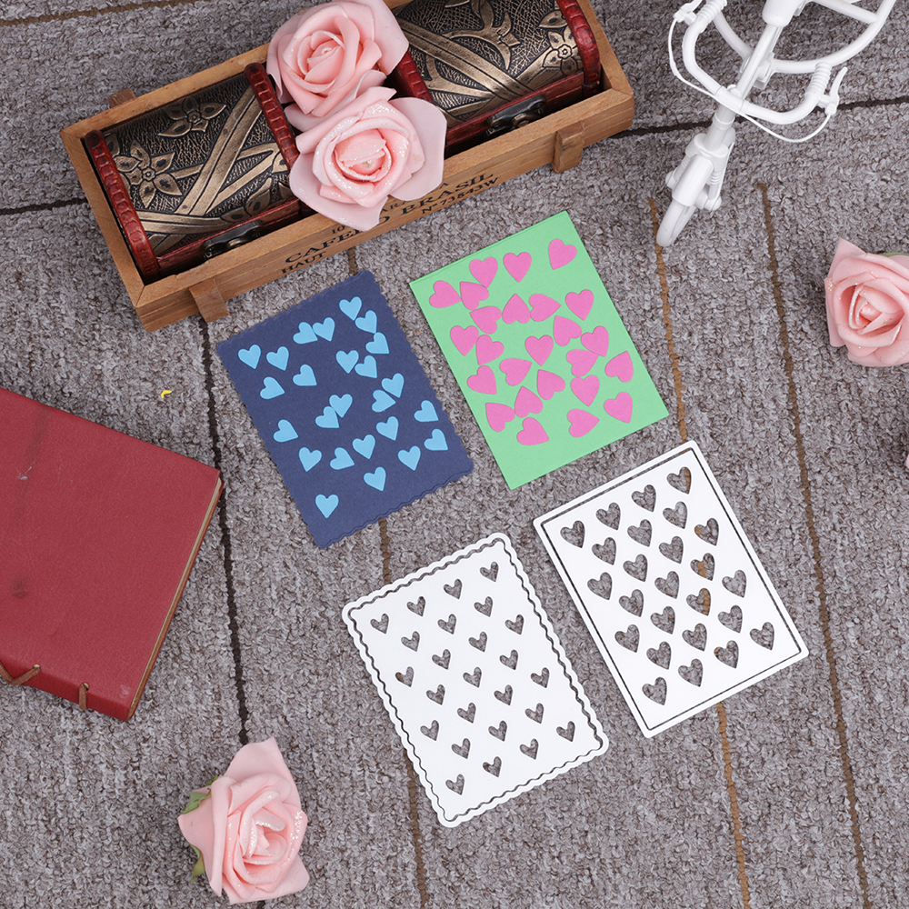 Bifujian 2pc love backdrop Matel Cutting Die Crafts Embossing Scrapbooking Die Carbon Cut Paper Card Stencil For Albums Decor